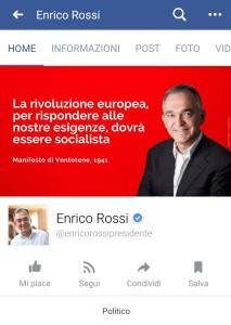 Cover photo sulla pagina Facebook del Presidente della Regione Toscana, Enrico Rossi. 25 luglio 2017